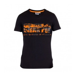 Sacramento V-Neck T-Shirt- Black/Neon Orange