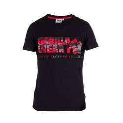 Sacramento V-Neck T-Shirt- Black/Red Gorilla Wear