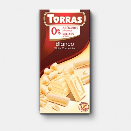 Tableta chocolate blanco 0% azúcar 75gr Torras