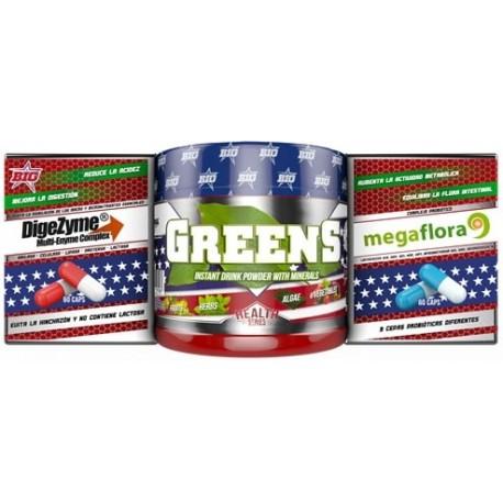 Pack Greens 150 gr + Probiotico 60 caps + Digezyme 60 caps BIG
