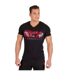 Sacramento V-Neck T-Shirt- Black/Red Gorilla Wear